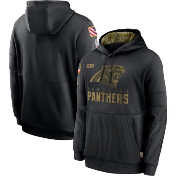 Men's Nike Carolina Panthers Black 2020 Salute to Service Sideline Performance Pullover Hoodie -