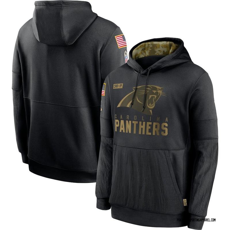 Men's Nike Carolina Panthers Black 2020 Salute to Service Sideline Performance Pullover Hoodie -