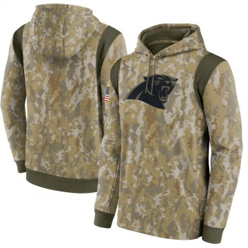 Men's Carolina Panthers Camo 2021 Salute To Service Therma Performance Pullover Hoodie -