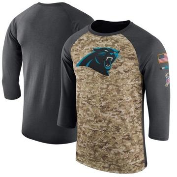 Men's Nike Carolina Panthers Camo /Anthracite Salute to Service 2017 Sideline Performance Three-Quarter Sleeve T-Shirt - Legend