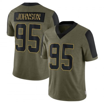 Men's Carolina Panthers Charles Johnson Olive 2021 Salute To Service Jersey - Limited