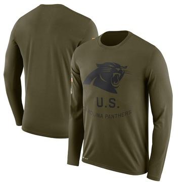Men's Nike Carolina Panthers Olive 2018 Salute to Service Sideline Performance Long Sleeve T-Shirt - Legend