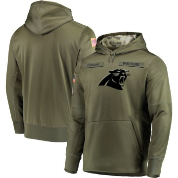 Men's Nike Carolina Panthers Olive 2018 Salute to Service Sideline Therma Performance Pullover Hoodie -
