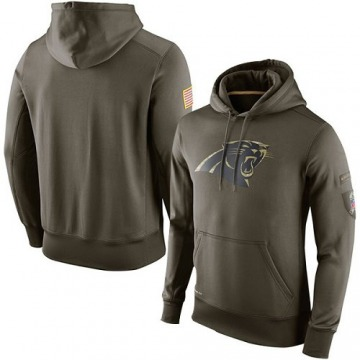 Men's Nike Carolina Panthers Olive Salute To Service KO Performance Hoodie -