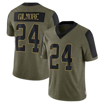 Men's Carolina Panthers Stephon Gilmore Olive 2021 Salute To Service Jersey - Limited