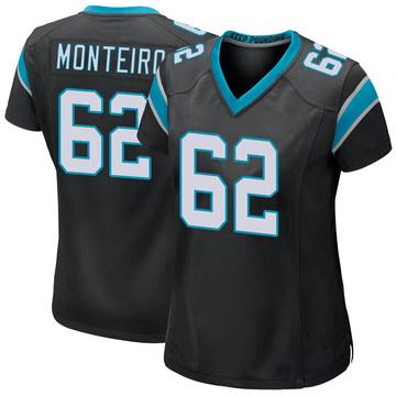 Women's Nike Carolina Panthers Aaron Monteiro Black Team Color Jersey - Game