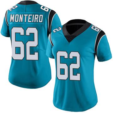 Women's Nike Carolina Panthers Aaron Monteiro Blue Alternate Vapor Untouchable Jersey - Limited