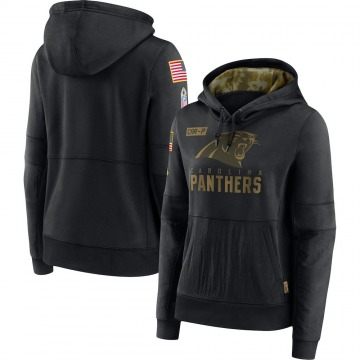 Women's Nike Carolina Panthers Black 2020 Salute to Service Performance Pullover Hoodie -