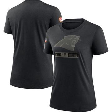 Women's Nike Carolina Panthers Black 2020 Salute To Service Performance T-Shirt -