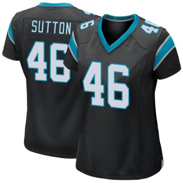Women's Nike Carolina Panthers Cam Sutton Black Team Color Jersey - Game