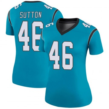 Women's Nike Carolina Panthers Cam Sutton Blue Color Rush Jersey - Legend