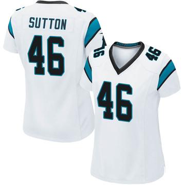 Women's Nike Carolina Panthers Cam Sutton White Jersey - Game