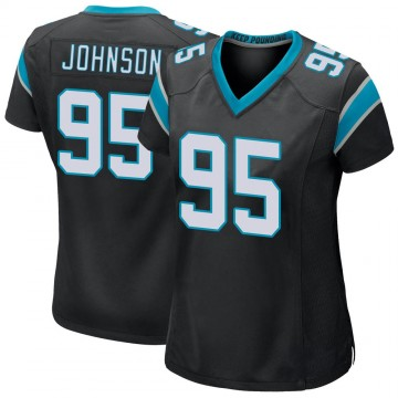 Women's Nike Carolina Panthers Charles Johnson Black Team Color Jersey - Game