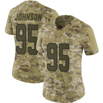 Women's Nike Carolina Panthers Charles Johnson Camo 2018 Salute to Service Jersey - Limited