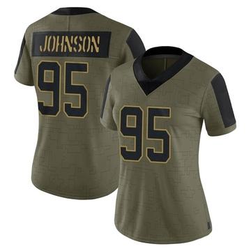 Women's Nike Carolina Panthers Charles Johnson Olive 2021 Salute To Service Jersey - Limited
