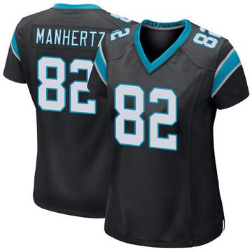Women's Nike Carolina Panthers Chris Manhertz Black Team Color Jersey - Game
