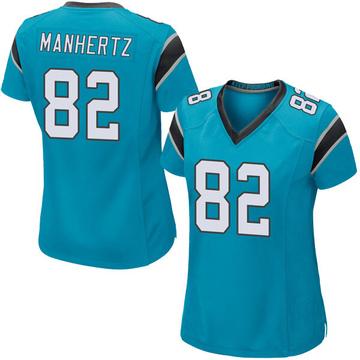 Women's Nike Carolina Panthers Chris Manhertz Blue Alternate Jersey - Game