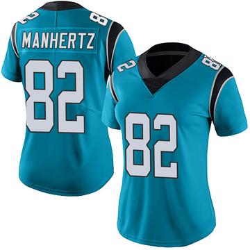 Women's Nike Carolina Panthers Chris Manhertz Blue Alternate Vapor Untouchable Jersey - Limited