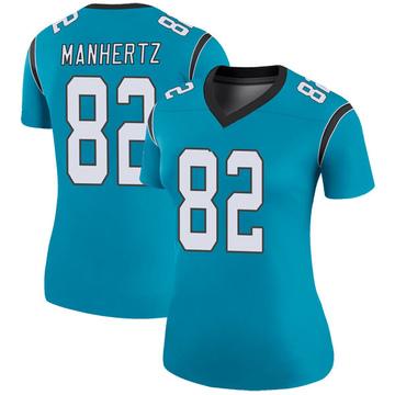 Women's Nike Carolina Panthers Chris Manhertz Blue Color Rush Jersey - Legend