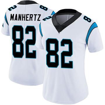 Women's Nike Carolina Panthers Chris Manhertz White Vapor Untouchable Jersey - Limited