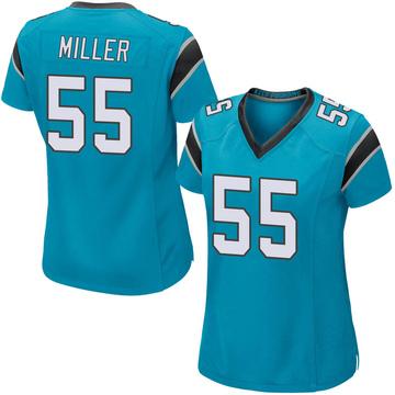 Women's Nike Carolina Panthers Christian Miller Blue Alternate Jersey - Game