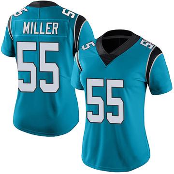 Women's Nike Carolina Panthers Christian Miller Blue Alternate Vapor Untouchable Jersey - Limited