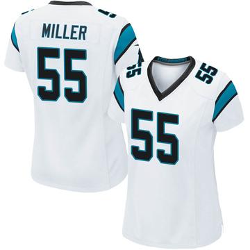 Women's Nike Carolina Panthers Christian Miller White Jersey - Game