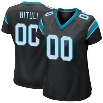Women's Nike Carolina Panthers Daniel Bituli Black Team Color Jersey - Game