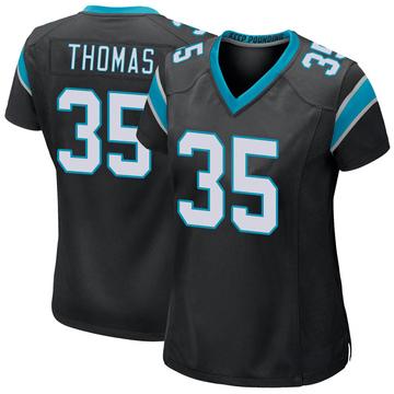 Women's Nike Carolina Panthers Derrek Thomas Black Team Color Jersey - Game
