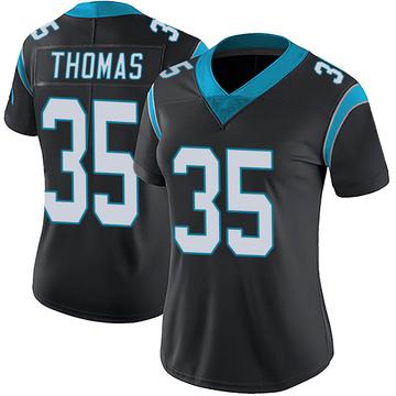 Women's Nike Carolina Panthers Derrek Thomas Black Team Color Vapor Untouchable Jersey - Limited