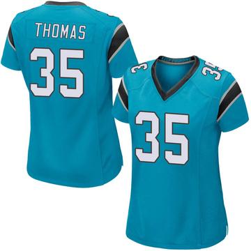 Women's Nike Carolina Panthers Derrek Thomas Blue Alternate Jersey - Game