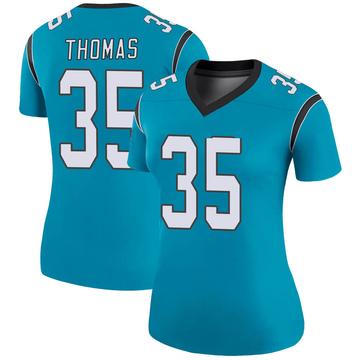 Women's Nike Carolina Panthers Derrek Thomas Blue Color Rush Jersey - Legend