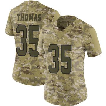 Women's Nike Carolina Panthers Derrek Thomas Camo 2018 Salute to Service Jersey - Limited