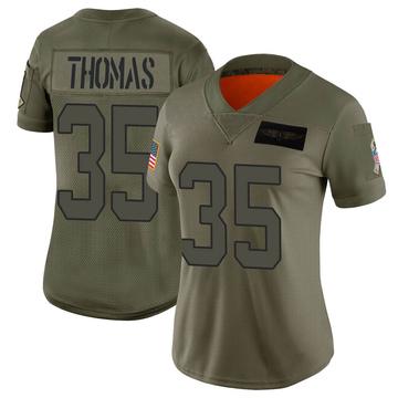 Women's Nike Carolina Panthers Derrek Thomas Camo 2019 Salute to Service Jersey - Limited