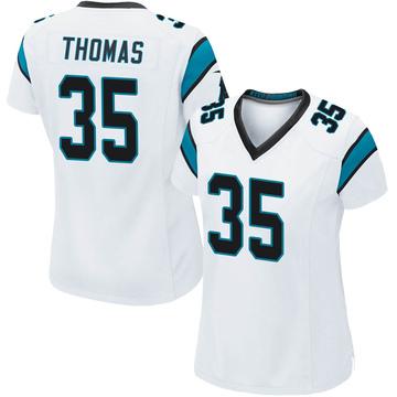 Women's Nike Carolina Panthers Derrek Thomas White Jersey - Game