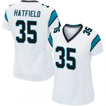 Women's Nike Carolina Panthers Dominique Hatfield White Jersey - Game