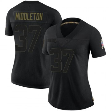 Women's Nike Carolina Panthers Doug Middleton Black 2020 Salute To Service Jersey - Limited