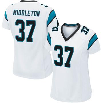 Women's Nike Carolina Panthers Doug Middleton White Jersey - Game