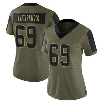 Women's Nike Carolina Panthers Frank Herron Olive 2021 Salute To Service Jersey - Limited