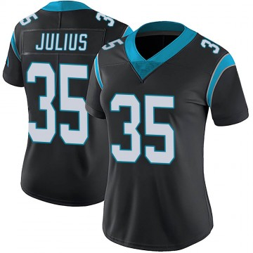 Women's Nike Carolina Panthers Jalen Julius Black Team Color Vapor Untouchable Jersey - Limited