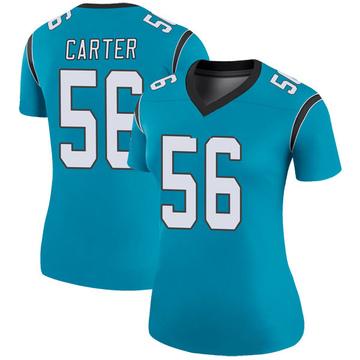 Women's Nike Carolina Panthers Jermaine Carter Blue Color Rush Jersey - Legend