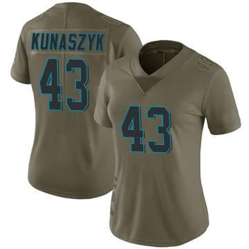 Women's Nike Carolina Panthers Jordan Kunaszyk Green 2017 Salute to Service Jersey - Limited