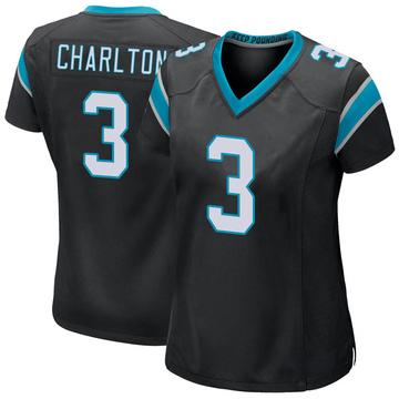 Women's Nike Carolina Panthers Joseph Charlton Black Team Color Jersey - Game