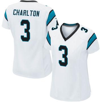 Women's Nike Carolina Panthers Joseph Charlton White Jersey - Game