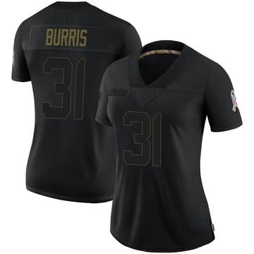Women's Nike Carolina Panthers Juston Burris Black 2020 Salute To Service Jersey - Limited