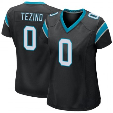 Women's Nike Carolina Panthers Kyahva Tezino Black Team Color Jersey - Game