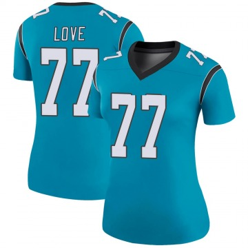 Women's Nike Carolina Panthers Kyle Love Blue Color Rush Jersey - Legend