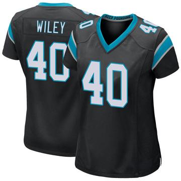 Women's Nike Carolina Panthers LaDarius Wiley Black Team Color Jersey - Game