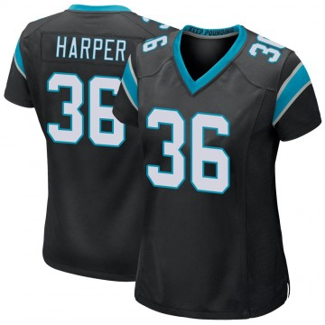 Women's Nike Carolina Panthers Madre Harper Black Team Color Jersey - Game
