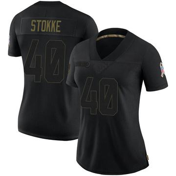 Women's Nike Carolina Panthers Mason Stokke Black 2020 Salute To Service Jersey - Limited